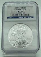 2008 AMERICAN SILVER EAGLE $1 EARLY RELEASE NGC MINT STATE 69