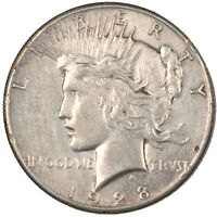 1928-P PEACE SILVER DOLLAR KEY DATE $1 - CLEANED -