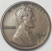 1  FINE TO CH/AU LOW MINTAGE 1928 S LINCOLN WHEAT CENT