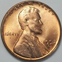 1 GEM BUSINESS UNCIRCULATED LOW MINTAGE 1957 D LINCOLN WHEAT CENT