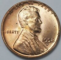 1 GEM BUSINESS UNCIRCULATED LOW MINTAGE 1958 D LINCOLN WHEAT CENT