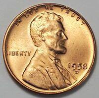 2 GEM BUSINESS UNCIRCULATED LOW MINTAGE 1958 D LINCOLN WHEAT CENT
