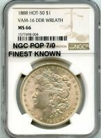 C12482- 1888 VAM-16 DDR WREATH HOT 50 MORGAN NGC MINT STATE 66 -NGC POP 7/0 FINEST KNOWN