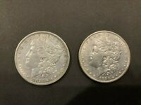 1882P & 1883P MORGAN SILVER DOLLARS, EXTRA FINE  OR BETTER