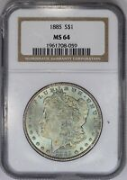 1885-P NGC SILVER MORGAN DOLLAR MINT STATE 64 SEAFOAM GREEN/BLUE TONED - COLOR-