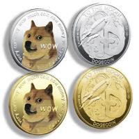 2 X GOLD PLATED DOGECOIN COINS COMMEMORATIVE 2021 NEW COLLECTORS DOGE