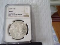 SILVER  1885-O CERTIFIED  NGC MINT STATE 61  MORGAN $  FLASHY WHITE LUSTER SHIPS FREE