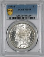 1897-S MORGAN SILVER DOLLAR BETTER DATE $1 - PCGS MINT STATE 63 - BLAST WHITE
