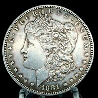 1881 P MORGAN SILVER DOLLAR CHEST FEATHERS COIN 239