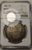 1886 MORGAN SILVER DOLLAR MINT STATE 62 TONED