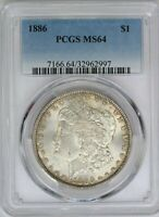 1886-P PCGS SILVER MORGAN DOLLAR MINT STATE 64 MINT STATE UNC US COIN