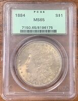 1884 MORGAN SILVER DOLLAR PCGS MINT STATE 65TONED OBVERSE
