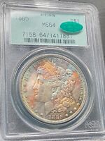 1885 RAINBOW TONED MORGAN SILVER DOLLARPCGS MINT STATE 64 CACFULLY TONED OBVERSE COLOR
