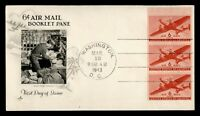 DR WHO 1943 FDC 6C AIRMAIL BOOKLET PANE ARTCRAFT CACHET  F36