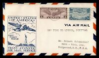 DR WHO 1939 NEW YORK TO PORTUGAL FIRST FLIGHT AIR MAIL FAM 1