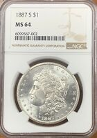 1887-S MORGAN SILVER DOLLAR NGC MINT STATE 64 COIN BETTER DATE