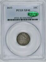 1833 10C CAPPED BUST DIME PCGS EXTRA FINE  40 CAC WITTER COIN