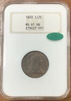 1800 DRAPED BUST HALF CENT NGC MINT STATE 61RB CACLOOKS R