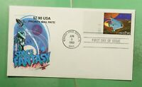 DR WHO 1993 FDC SPACE FANTASY PRIORITY $2.90 FARNAM CACHET P