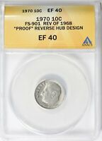 1970 AND 1970 D ROOSEVELT FS-901 REV OF 1968 PR REVERSE HUB ANACS AU53 AND EXTRA FINE 40