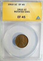 1910 P LINCOLN WHEAT CENT 90 DEGREES DIE ROTATION ANACS EXTRA FINE -45
