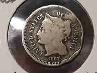 1867 III CENT NICKEL READIBLE DATE CULL