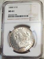 1888S MORGAN SILVER DOLLAR NGC MINT STATE 61