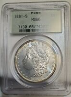 1881S MORGAN SILVER DOLLAR PCGS MINT STATE 66 OGH