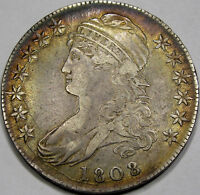 1808/7 O-101 CAPPED BUST HALF DOLLAR AU MONSTER COIN, AWESOME ANTIQUE TONE
