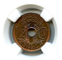 INDOCHINA FRENCH 1/2 CENT PROBE 1935 NGC MINT STATE 65 RB TOP EINWOHNER