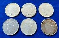 SIX 90  SILVER PEACE DOLLARS 1922 S 1922 D TWO 1922 P 1923 1