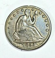 1853 50C SEATED LIBERTY SILVER HALF DOLLAR ARROWS AND RAYS 9
