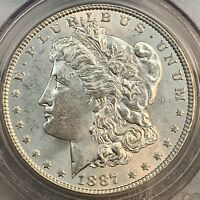 1887 P - $1 US MORGAN SILVER DOLLAR PCGS MINT STATE 62 CERTIFIED - SHIPS FREE <-