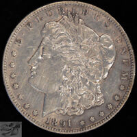 1891 CC MORGAN SILVER DOLLAR, CARSON CITY, ALMOST UNCIRC DETAILS, CLEANED, C4727