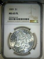 1889-P MORGAN SILVER DOLLAR NGC MINT STATE 63PL GREAT EYE APPEAL FANTASTIC LUSTER
