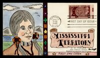 DR WHO 1948 FDC MISSISSIPPI TERRITORY ANIV KRAFT HAND COLORE