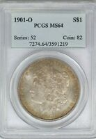 1901-O PCGS SILVER MORGAN DOLLAR MINT STATE 64 MINT STATE TONED SEMI-PL COIN