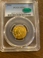 1914  PCGS  62 CAC STICKER  GOLD $5 INDIAN  US ONLY