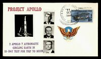 DR WHO 1968 APO SPACE PROJECT APOLLO 7 REAL PHOTO CACHET  G1