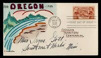 DR WHO 1948 FDC OREGON TERRITORY CENTENNIAL HANDPAINTED CACH