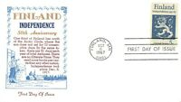 1334 5C FINLAND INDEPENDENCE CACHET IN BLUE AND GOLD [081821