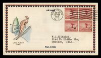 1932 FDC OLYMPICS SPORTS HAND COLORED ADD ON CACHET BLOCK 71