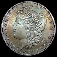 1879 MORGAN SILVER DOLLAR RAINBOW TONED VAM 34 DDR - DOUBLE LETTERING COIN 406
