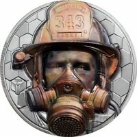 FIREFIGHTER REAL HEROES 3 OZ BLACK PROOF SILVER COIN 20$ COO