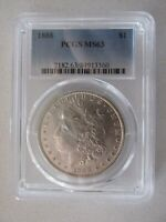 1888 MORGAN SILVER DOLLAR GRADED MINT STATE 63 BY PCGS