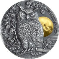 LONG EARED OWL WILDLIFE IN THE MOONLIGHT 2 OZ SILVER COIN 5$