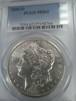 1898-O MINT STATE 62 UNCIRCULATED MORGAN SILVER DOLLAR, PCGS BLUE LABEL, SHIPS FREE