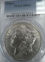 1898-O MINT STATE 63 UNCIRCULATED MORGAN SILVER DOLLAR, PCGS BLUE LABEL, SHIPS FREE