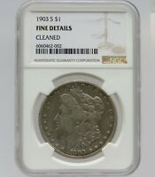1903-S MORGAN SILVER DOLLAR - FINE DETAILS - NGC - CLEANED - F2002