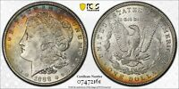 1888-P MORGAN SILVER DOLLAR PCGS MINT STATE 63 RAINBOW TONED CHOICE UNC COLOR